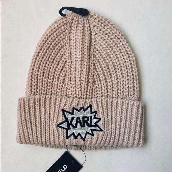 Karl Lagerfeld Blush Warm Beanie Hat OS NWT 1d975e85b011